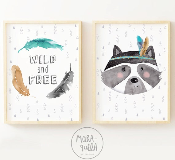 Set Mapache y plumas - Wild and Free