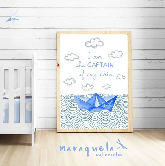 """Ilustración Barco de Papel con frase """"soy el capitán de mi barco"""" / Paper boat and waves with quote """"I am the captain of my ship"""""""