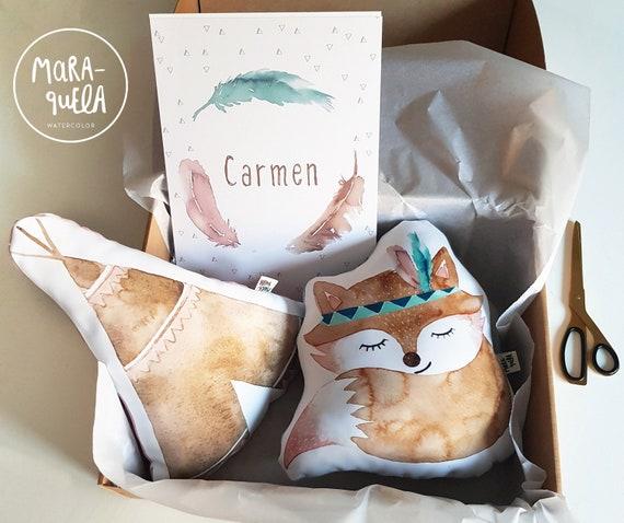 KIT REGALO PERSONALIZADO - Zorro, tipi y plumas / Custom Baby Gift Set