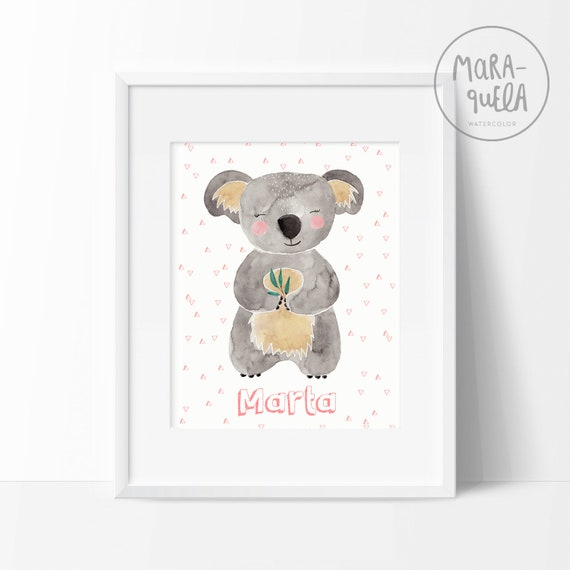 Lámina Koala tonos rosas / Watercolor koala print