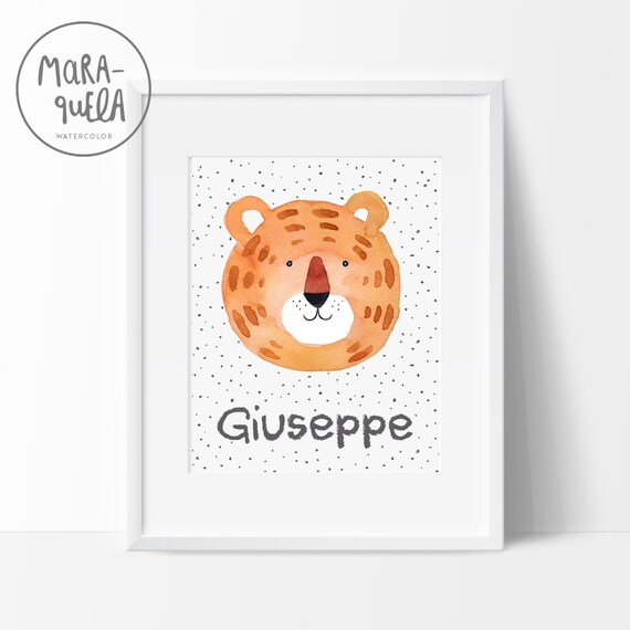 Lámina Tigre / Watercolor Tiger for baby and kids