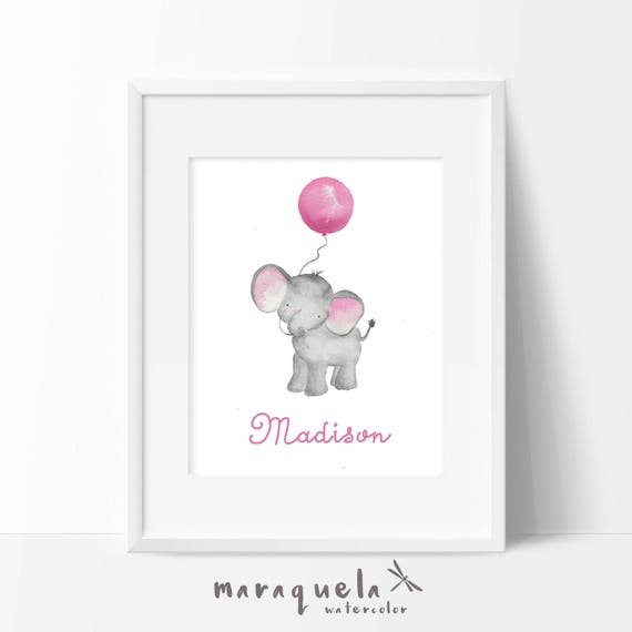 Little ELEPHANT and PINK balloon Watercolor, nursery decor custom name. Personalized Baby print. Children wall decor, shower boys, kids room