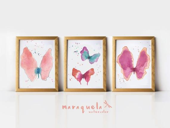SET Mariposas, acuarelas originales 25.4 x 20.3 cm/ Butterflies in Original Watercolor - 3 pieces 8 x 10 inches.