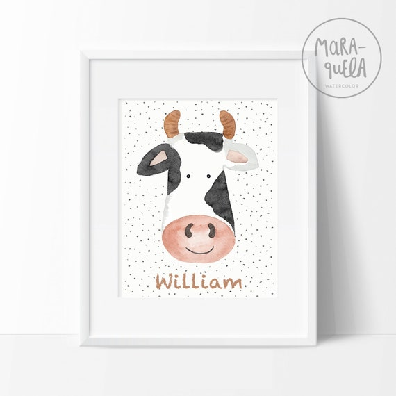 Lámina Vaca Petra / Watercolor Cow for baby and kids
