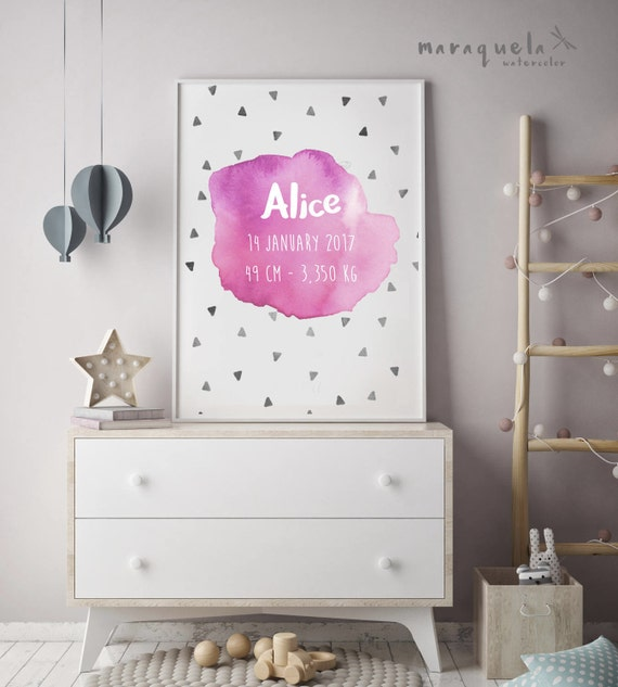 CUSTOMIZED PINK watercolor for newborn with personalized name, date and weiht.