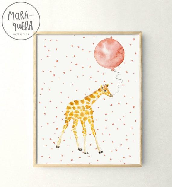 Jirafa con globo / Little GIRAFFE Peach Pink balloon Watercolor