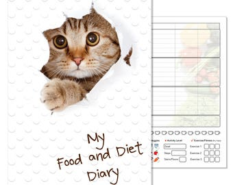 A5 Diet Diary, Food Planner Journal, Compatible with Slimming World, Weight Watchers, Calorie Counting, Cat Dust Cover