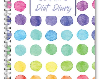 A5 Personalised Diet Diary, Wire Bound Food Diary, Compatible with Slimming World, Weight Watchers, Calorie Counting, Coloured Spots  Cover