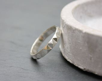 Silver studded ring | Sterling silver pyramid studded band | stacking ring | handmade | geometric jewellery