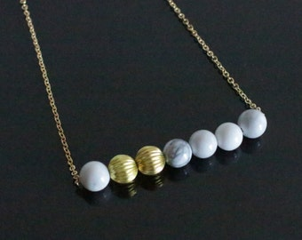 Gold and Marble bead necklace | 7 bead necklace | handmade contemporary jewellery | geometric minimalist design