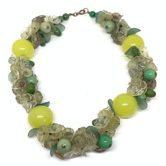 1940s Vintage celluloid lemon and lime flower bead