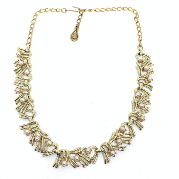 JEWELCRAFT gold and pearl collar necklace vintage bridal 1950/'s necklace gold collar necklace gold and white necklace,
