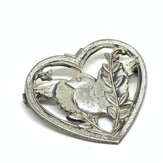 Vintage 1940s sterling silver Coro lovers heart br