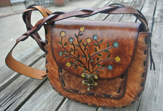 Hand Tooled Leather Heart Concho Bag Swag Hand Stamped Leather Handbag Decoration Purse Decoration Purse Ornaments Gift Idea