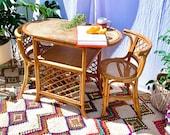 70s Vintage Boho Tiki Bentwood and Rattan Cane Balcony Bistro Table Chair Set
