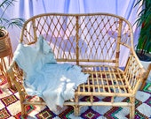 Boho Tiki Lattice Work Bamboo Rattan Cane Two Seater Sofa