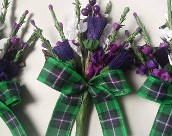 HIBS FC Tartan Artificial heather and thistle buttonholes x 3