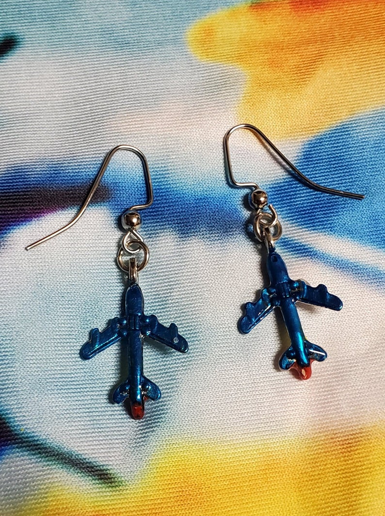 Airplane Charm Earrings Southwest Colors Blue Red Yellow Airlines