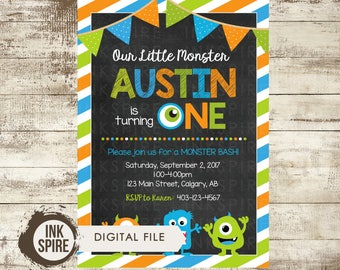 Monster Birthday Invitation, Monster Invitation, Monster Birthday Party, Monster 1st Birthday, Little Monster, Printable, DIGITAL FILE