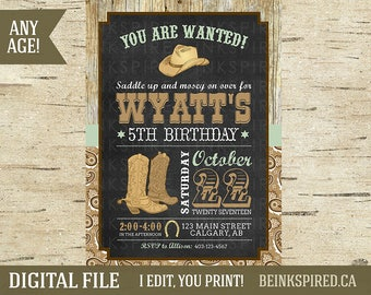 cowboy invitations etsy