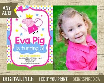 Peppa Pig Invitation, Peppa Pig, Peppa Pig Birthday, Peppa Pig Party, Peppa Pig Invite, Printable Photo Invitation Invite, DIGITAL FILE