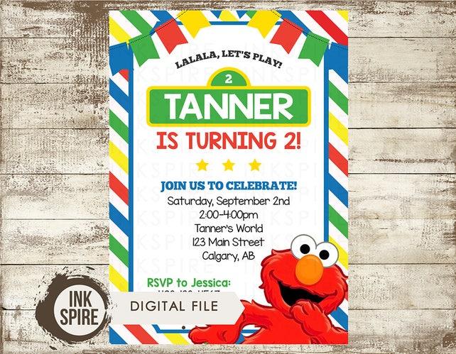 Elmo Invitation Birthday Party Sesame Street Invite 1st 2nd 3rd