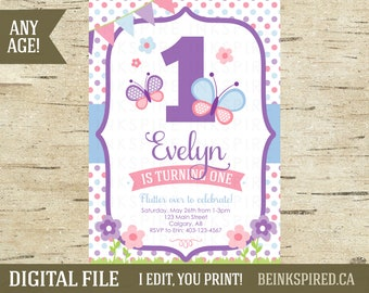 Butterfly Butterflies 1st 2nd 3rd Birthday Party Invitation Invite, Pink Butterfly Photo Invitation Invite, Butterfly Kisses, DIGITAL FILE