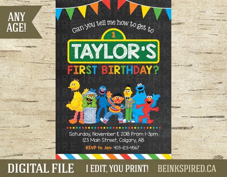 Sesame Street Birthday Invitation Printable DIGITAL FILE