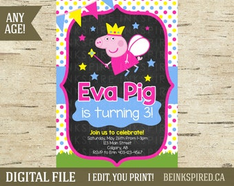 Printable Peppa Pig Birthday Party Photo Invite Invitation, Peppa Pig, Peppa Pig Birthday, Peppa Pig Party, Peppa Pig Invite, DIGITAL FILE