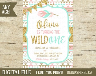 Girl Tribal Invitation, Wild One Birthday Invitation, Wild One Party Invitation, Girl Wild One, Pink Mint Gold Glitter, DIGITAL FILE