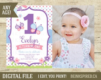 Butterfly Invitation, Butterfly Birthday, Butterfly Party, Butterfly Invite, Butterflies, Photo Invitation, Purple and Pink, DIGITAL FILE