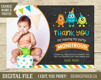 Personalized Monster Birthday Party Thank You Card Tag Invitation, Monster Party, Monster Bash Birthday, Printable, KEVIN, DIGITAL FILE