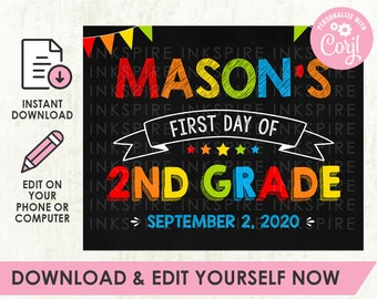 Editable First Day of School Poster - DIGITAL FILE - Printable Rainbow Back to School Sign - Download & Edit Yourself NOW!