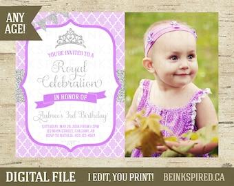 Princess Photo Birthday Party Invitation Invite, Purple Silver Princess Invitation Invite, Princess Party, Princess Birthday, DIGITAL FILE