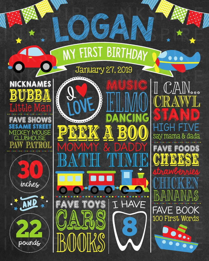 Any Age Transportation Birthday Chalkboard Printable DIGITAL FILE Boy First Birthday Board Change the Sections!