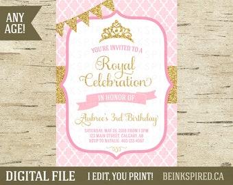 Printable Princess Invitation Invite, Pink and Gold Glitter, 1st 2nd 3rd Birthday Invitation Invite, Princess Party Birthday, DIGITAL FILE
