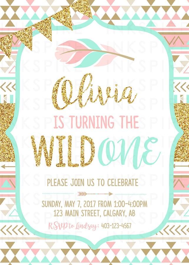 girl tribal invitation wild one birthday invitation wild one party