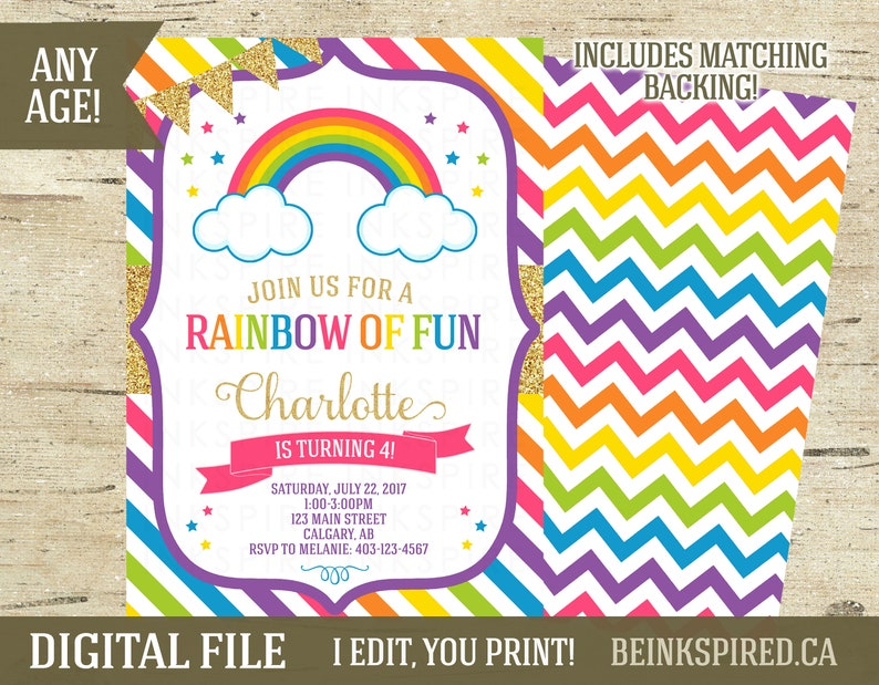 Rainbow Birthday Party Invitation Invite Girl 1st 2nd 3rd 4th