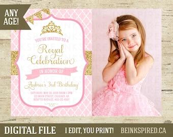 Princess Invitation, Princess Party, Princess Birthday, Pink Purple Gold Silver Glitter, Princess Photo Invitation Invite, DIGITAL FILE