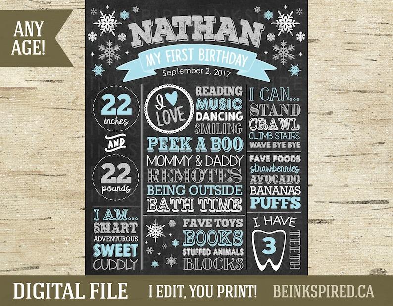 Sign NATHAN Blue /& Silver 1st Birthday Chalkboard Snowflakes Winter ONEderland Birthday Chalkboard Winter Wonderland DIGITAL FILE