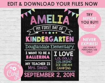 First Day of School Chalkboard Sign - Editable DIGITAL FILE - Girls Pastel Back to School Photo Prop - Download & Edit Yourself NOW!