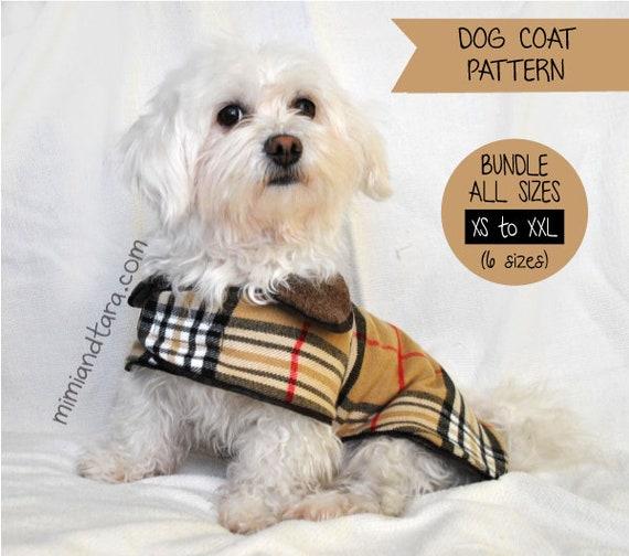 Dog Coat Pattern Bundle All Sizes Sewing Pattern Dog Clothes Etsy Fascinating Dog Coat Pattern