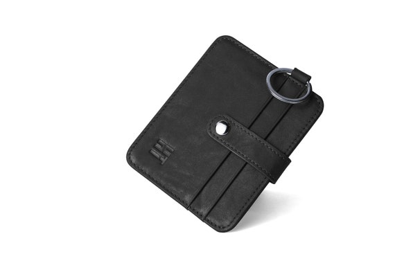 Tab Fastening for 24 Cards Black Soft Leather Credit Card Holder Wallet 602BL