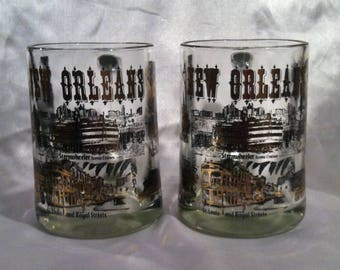 Sweet Vintage Glass New Orleans Mugs
