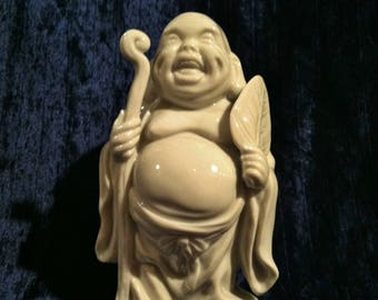 Vintage Porcelain Chinese Laughing God Statue