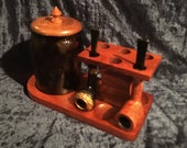 Antique Ultra Nice 6 Pipe Stand With Amber Glass Tobacco Cigar Humidor And Rare Pointed Lid