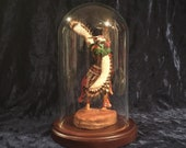 Vintage Hand Carved And Painted Hopi Eagle Dancer Kachina Doll With Glass Dome