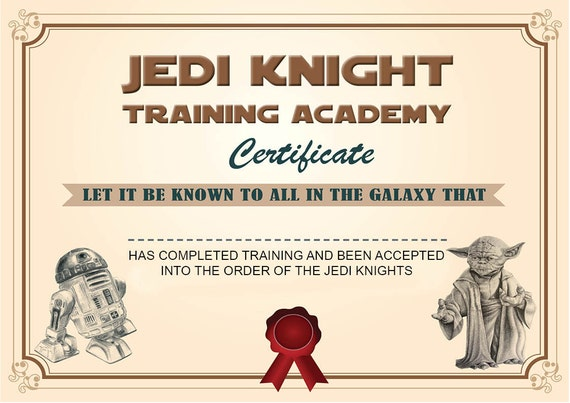 INSTANT DL Jedi Knight Certificate Star Wars Birthday Party | Etsy