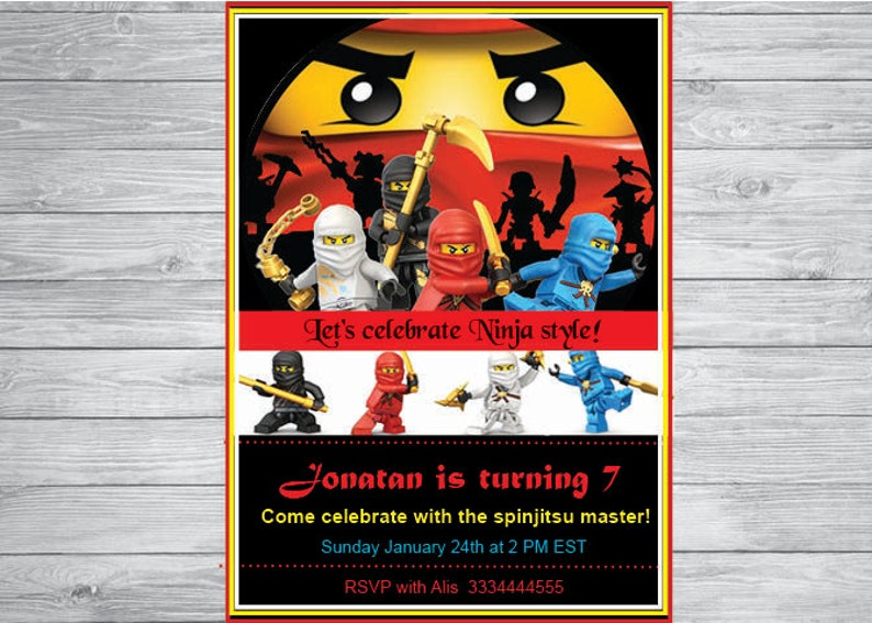 Ninjago Birthday Invitation Party Eyes