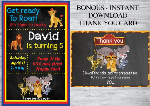 The Lion Guard Birthday Invitation Free Thank You Card Party Instant Download
